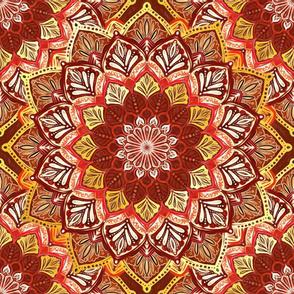 Boho Mandalas in Dark Red and Gold