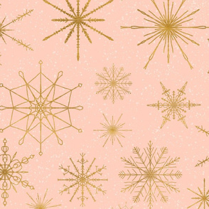 Snowflakes Gold Peach large scale