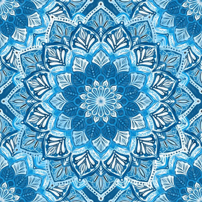 Boho Mandalas in Cobalt Blue and White