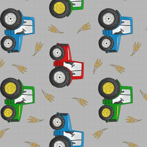 Large Tractors and Wheat on light grey - rotated