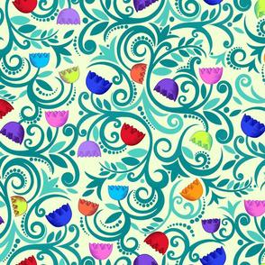 seventies boho flowers (cream)