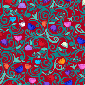 seventies boho flowers (ruby emerald)