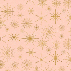 snowflakes gold peach medium scale