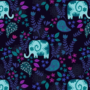 darkblue paisley elephant