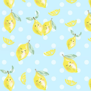 lemons on blue