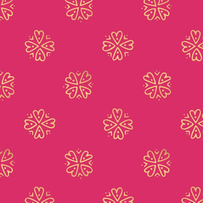 Hand drawn gold heart seamless pattern printed on pink background
