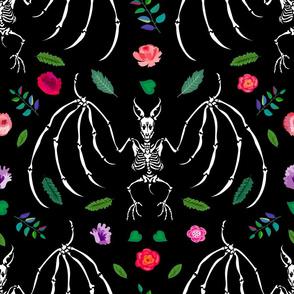 Bat skeleton and roses