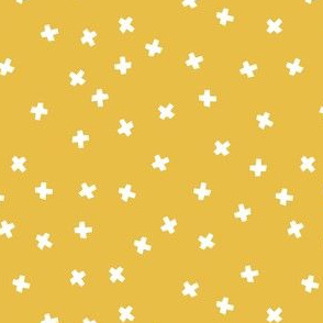 Geometric white cross stars on mustard yellow