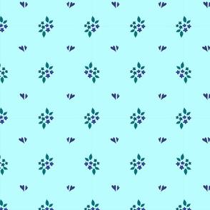 Blumen und Herzen hellblau kleiner 10cm
