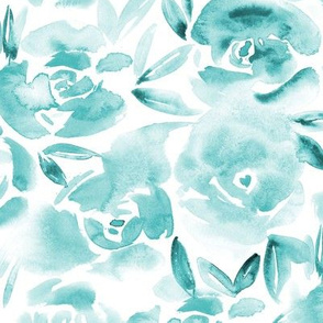 Rose garden in emerald • watercolor flowers