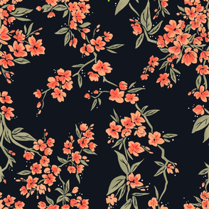Black and Peach Florals