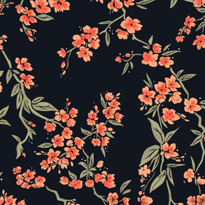 Black and coral floral pattern