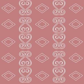 Pink & White Sankofa Heart