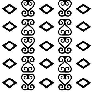 White & Black Sankofa Heart bold