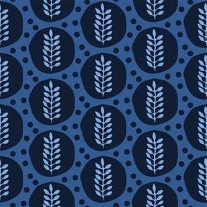 Indigo blue stylized ethnic leaf pattern.