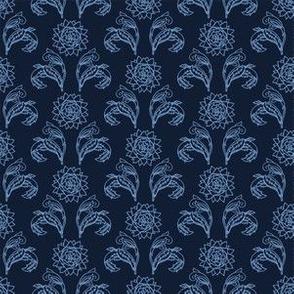 Indigo blue flower motif Japanese style.