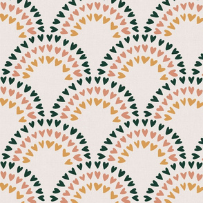 Scalloped heart rainbows_Forest green_ salmon and mustard