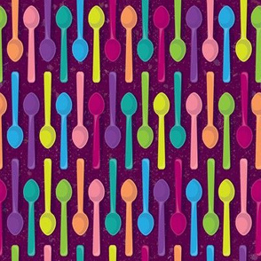 Sweet Ice Cream Spoons on Purple by ArtfulFreddy