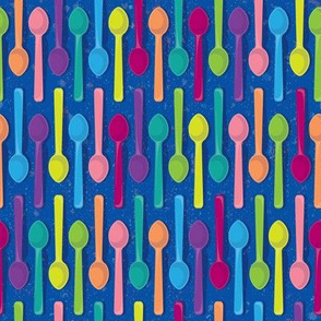 Sweet Ice Cream Spoons on Blue by ArtfulFreddy