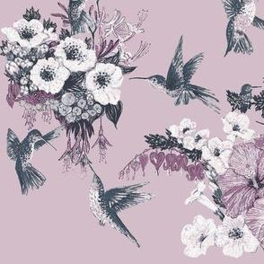 Pale Amethyst & Gray Humming Bird Fabric Design
