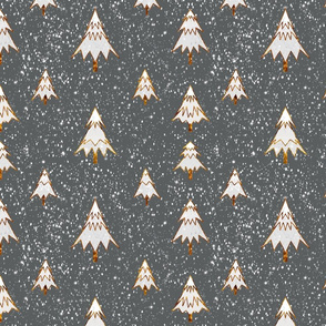 Silver and Gold Snowy Christmas Trees