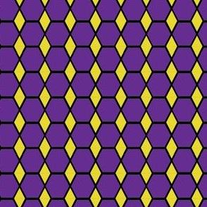Purple Hexagon and Gold Diamons LARGE