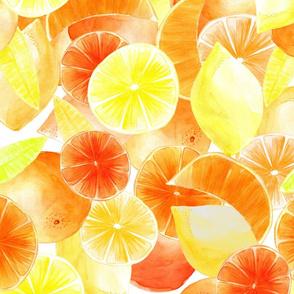 Yellow citrus, orange and lemon