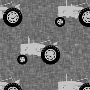 tractors on grey linen - farm life - farm patchwork fabric - grey coordinate C18BS