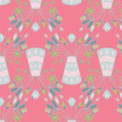 Whimsical Fuscia Flowers Pots