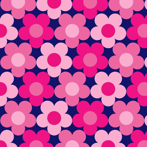 Happy Flowers Pink/Navy