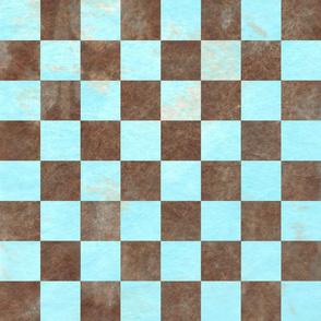 Chess Board Check Brown Aqua Marble 150