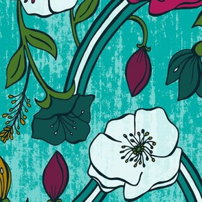 Harmony - Aqua Jewel Tone Floral Large Scale