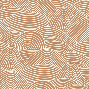 Ocean waves and surf vibes abstract salty water minimal Scandinavian style stripes cinnamon ginger brown