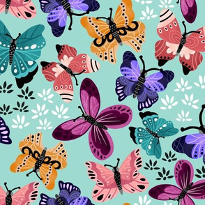 Colorful Butterflies V3-Teal