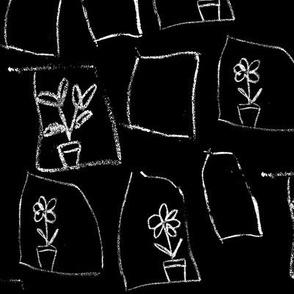 chalkboard flower windows