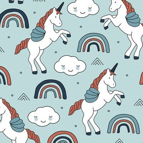 Magical unicorns and rainbows with fluffy kawaii clouds kids fantasy blue rust