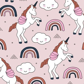 Magical unicorns and rainbows with fluffy kawaii clouds kids fantasy dusty pink green rust