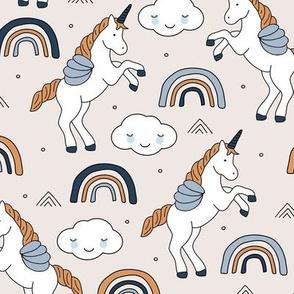 Magical unicorns and rainbows with fluffy kawaii clouds kids fantasy blue beige cinnamon boys