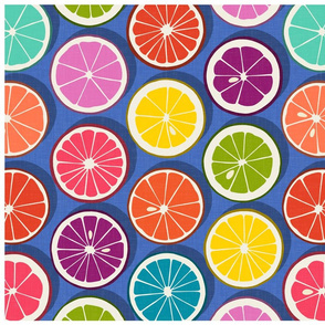 citrus polka pop blue tea towel