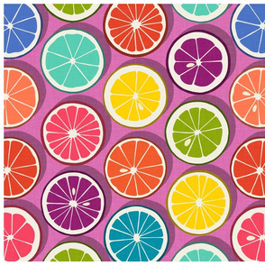 citrus polka pop bubblegum tea towel