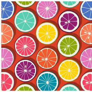 citrus polka pop fire tea towel