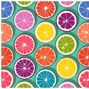 citrus polka pop teal tea towel