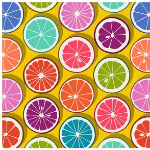 citrus polka pop yellow tea towel