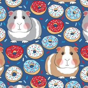guinea pigs red white and blue donuts on navy