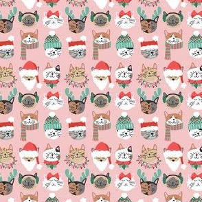 Christmas Kitty Cat Faces on Pink mini