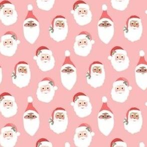 Happy Santas on Pink - mini