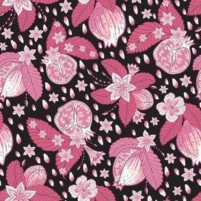 Pomegranate Chintz Pink Black