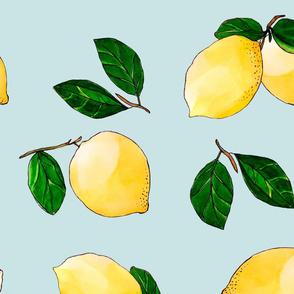 yellow lemons on blue