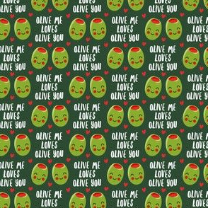 (extra small scale) olive me loves olive you - cute Valentine's Day love olives - green - LAD19BS