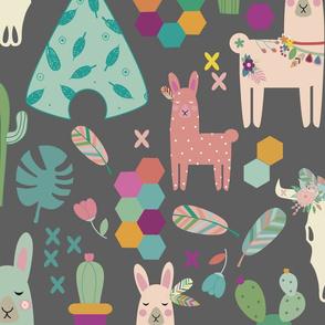 lamas grey smealess pattern